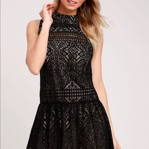 Black and lace cocktail dress